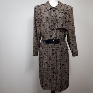 Vintage Bill Blass Silk Dress Tan Black Red Sz 14